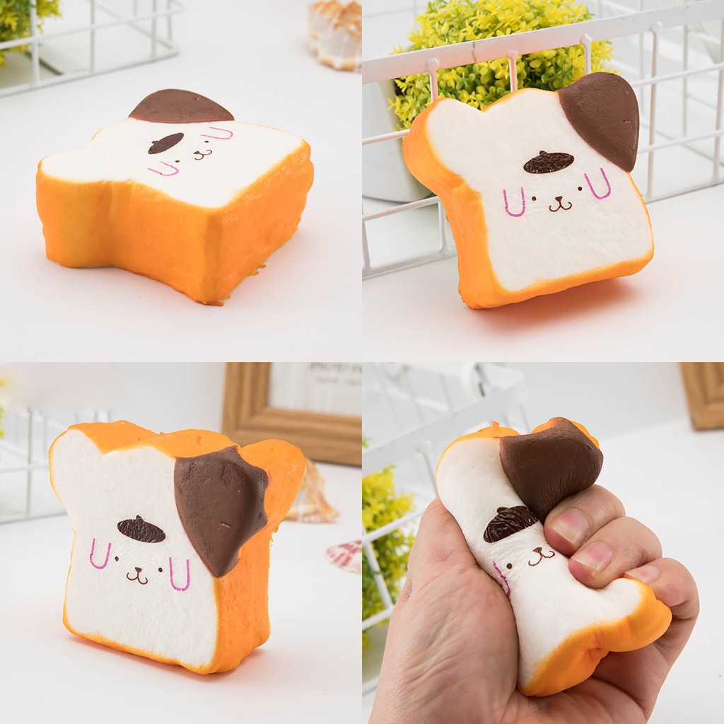 Adorable Simulated Toast Rebound  Bread Super Slow Rising Kids Toys Stress Reliever Toy Slice Dog Expression Vent Toy L0116