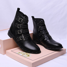New Women's Leather Boots Ankle Motorcycle Rivets Women boots Fashion shoes Women Autumn Winter Punk boots Shoes qzyerai autumn and winter new arrival fashion new youth women ankle boots casual shoes women of shoes motorcycle boots