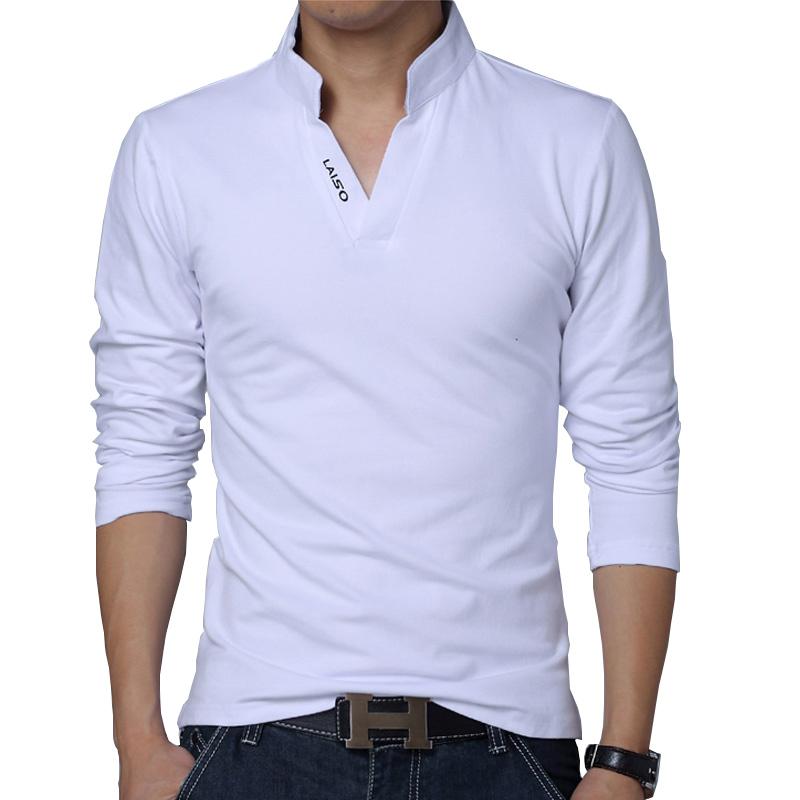 2021 T Shirt Men Spring Cotton T Shirt Men Solid Color Tshirt Mandarin Collar Long Sleeve Top Men Brand Slim Fit Tee Shirts 5XL