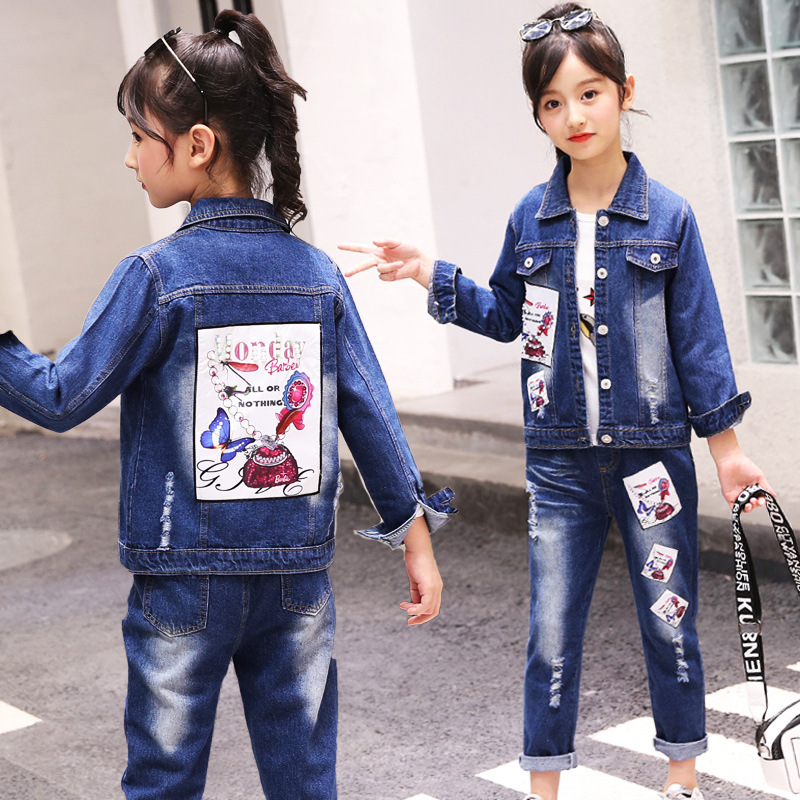 Kids Girls Clothing Sets 2019 Autumn Winter Children Girls Clothes Denim Jacket+Jeans Pants Kids Outfits Girls Clothes Set