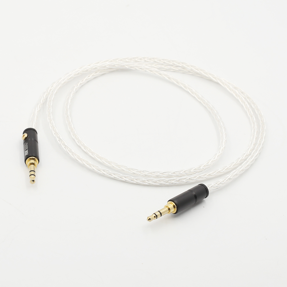 Audiocrast 8 Cores Silver Plated 3.5mm To 3.5mm Stereo Male Upgrade Cable HIFI Audio Aux
