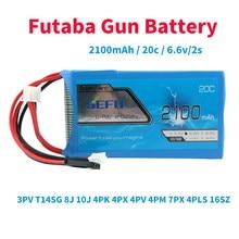 Futaba-batterie de contrôle pour pistolet, 2100mAh, 20C 6.6V 2S, pour 3pv t14sg 8j 10J, 4pk 4PX 4pv 4pm 7px 4PLS 16SZ