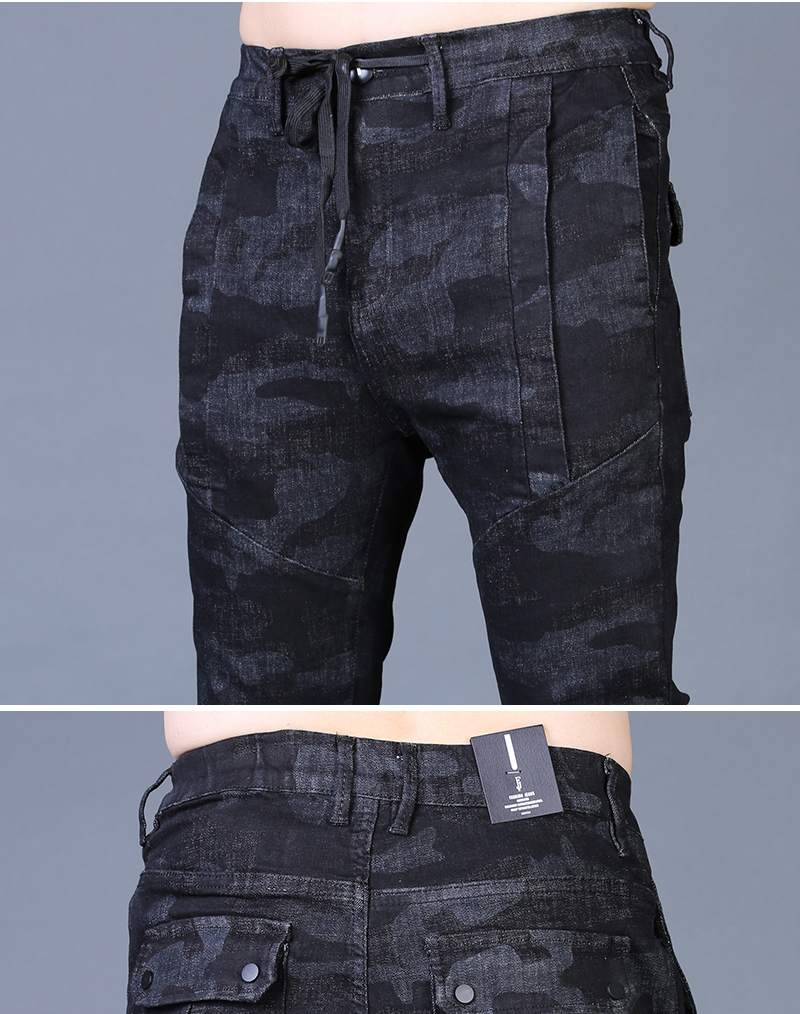 Free shipping new fashion men's male casual Original camouflage jeans men plus velvet autumn stitching pants Slim Korean C3129 85