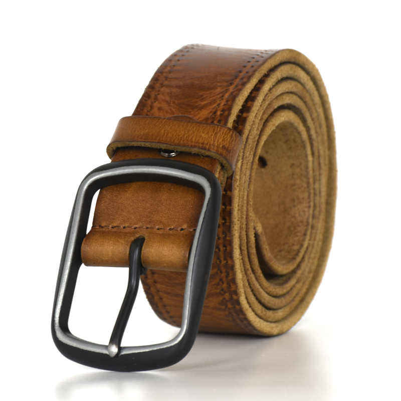 New Crazy Horse Genuine Leather Belt For Men  Cowhide Men's Leather Belts Vintage Jean Strap Brown Color 130 Cm  Thong Manual