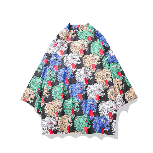Men Japanese Short Robe Rayon Loose Kimono Haori Satin Traditional Cardigan Yukata Japones Male Asian Bathrobe Gown Clothing