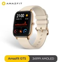Versão global amazfit gts relógio inteligente 5atm à prova dlong água smartwatch longa bateria gps controle de música pulseira de silicone couro|Relógios inteligentes| |  -