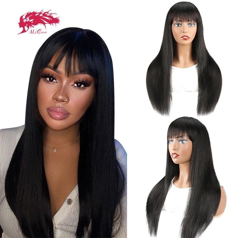 Прямые человеческие волосы парики с челкой Бразильские девственные волосы Remy парики для женщин 8