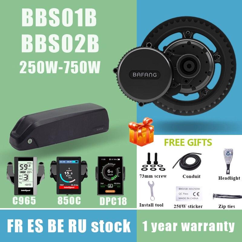 Bafang мотор BBS02B BBS02 750W BBS01B BBS01 250W 8FUN середине приводной двигатель комплект для переоборудования электрического велосипеда 18650 Литий Батарея мм...