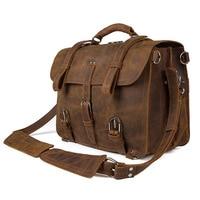 Mahuebag Big Genuine Leather Vintage mens Briefcase Laptop Handbag Travel Shoulder Bag Multiple Function Travel Bag 3 in 1 bag