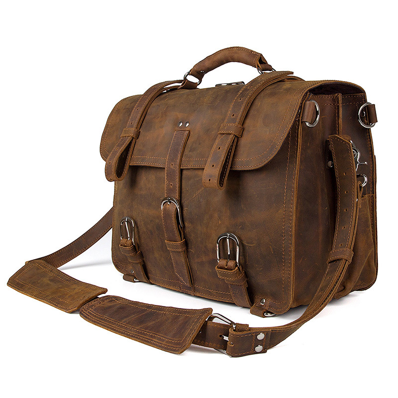 Mahuebag Big Genuine Leather Vintage mens Briefcase <font><b>Laptop</b></font> Handbag Travel Shoulder Bag Multiple Function Travel Bag 3 in 1 bag image