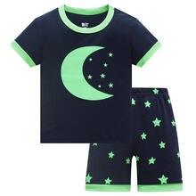 Летние Детские пижамные костюмы 2020 футболки с короткими рукавами
