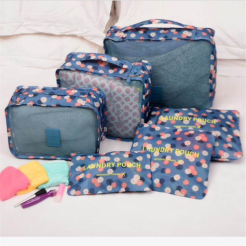 Hot New 6 Pcs/Set Travel Storage Bag Suitcase Closet Divider Container Clothing Shoes Tidy Packing Cubes Luggage Organizer Pouch