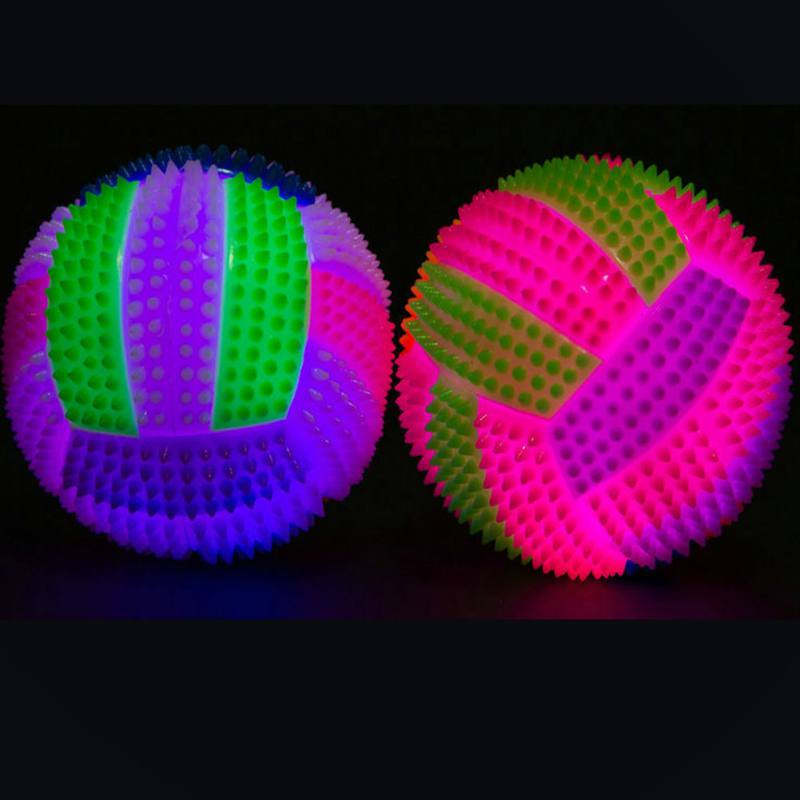 Lighting Dog Toy Rubber Balls Dog Cat Pet Interactive Squeak Ball Toys Soft Pet Dog Chewing Toy Elastic Ball Puppy Toy(China)