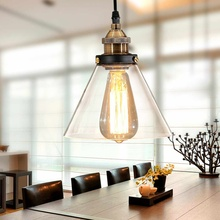 E27 Retro Vintage lámpara de araña pantalla Industrial lámpara cubierta cable Café Bar cubierta de cristal techo colgante Base de luz