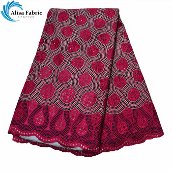 Alisa African Dry Lace Fabric 5 Yards/pcs Hot Selling 100% Cotton Lace Fabric Nigeria Sewing Material With Embroidery And Stones