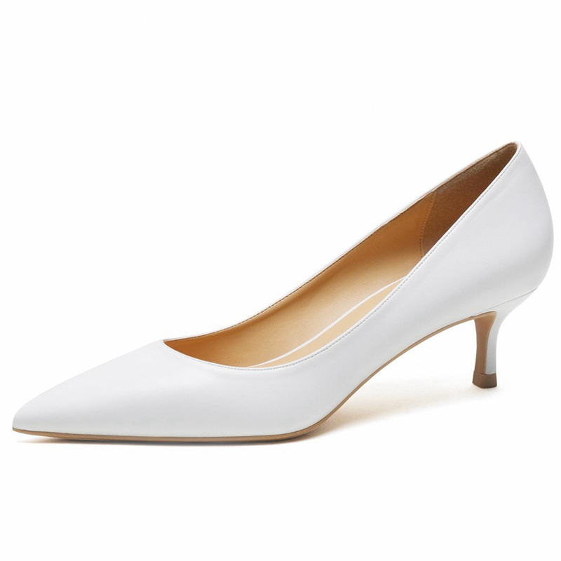 Four Seasons White Pointed Toe Pumps Casual 5cm Heels Shoes Women Professional Ladies Slip On Work Office Shoes Woman D0002 image