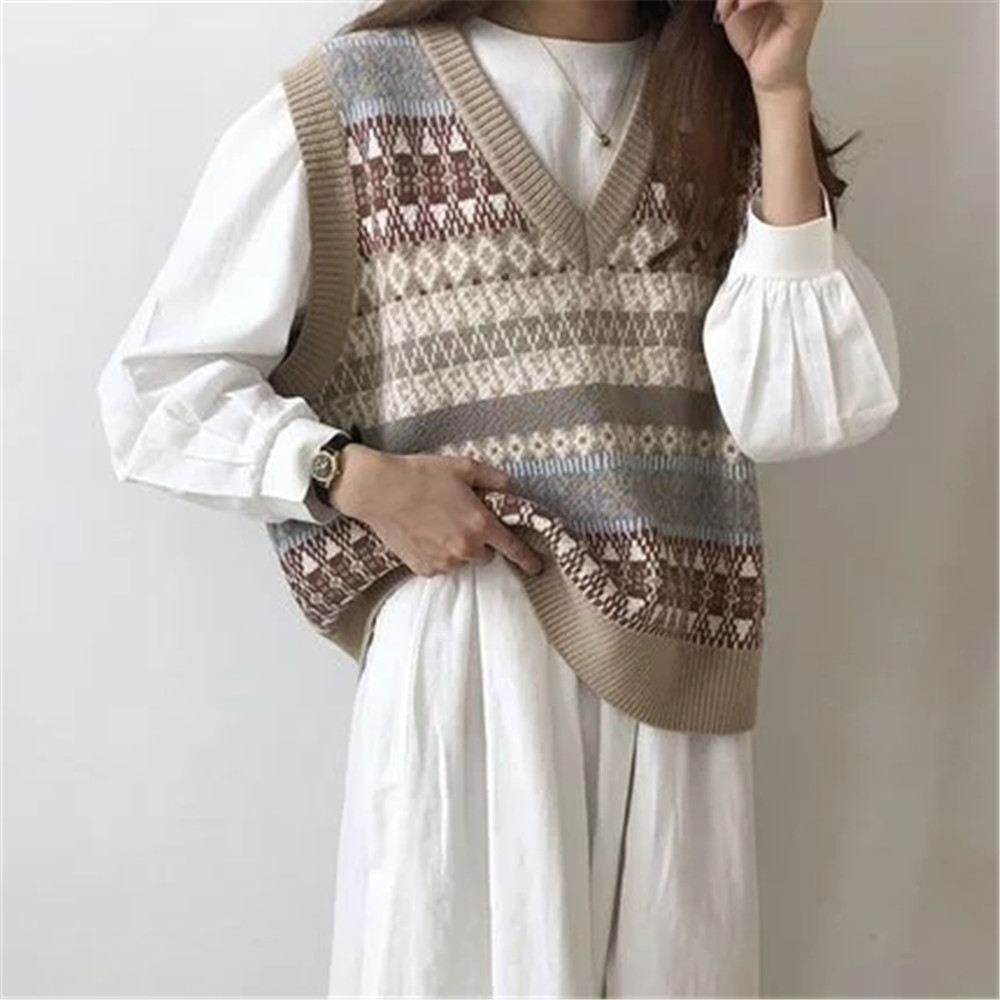 Vintage V neck Knitted Vest Sweater Women Sleeveless Pullover Elasticity Sweater Loose Female Casual Oversized Knitted Vest 2020