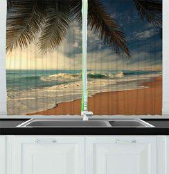 Zasłony kuchenne na plaży tropikalne wybrzeże na Sri lance egzotyczne wybrzeże palmy i fale okna zasłonki kuchenne Cafe