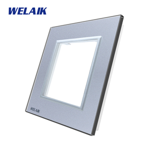 Image 3 - WELAIK EU Wall Switch DIY Parts Glass Panel Only Wall Light Switch Crystal Glass Panel Square hole  A18W/B1