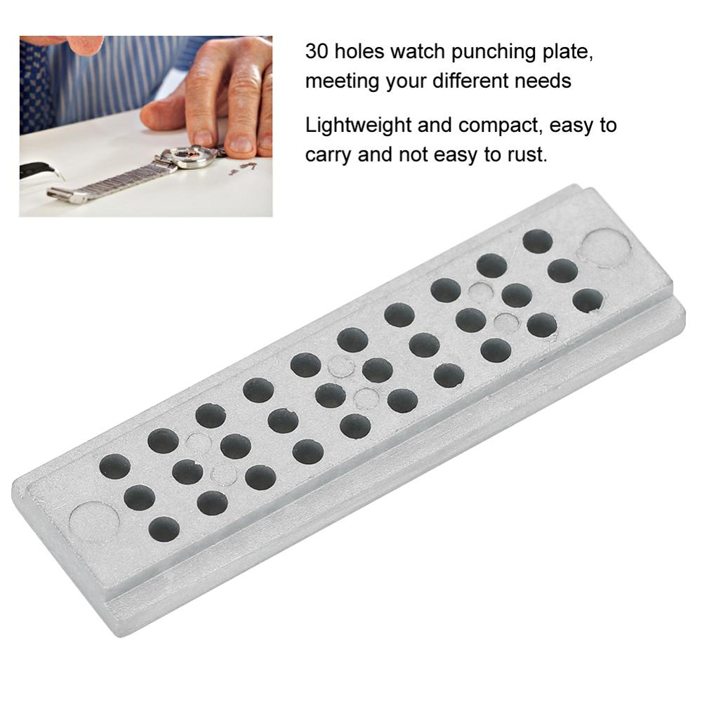 30 Hole Watch Riveting Stake Holder Quality Steel Punch Block Punching Plate Watch Strap Fixing Watch Repair Tool for Watchmaker
