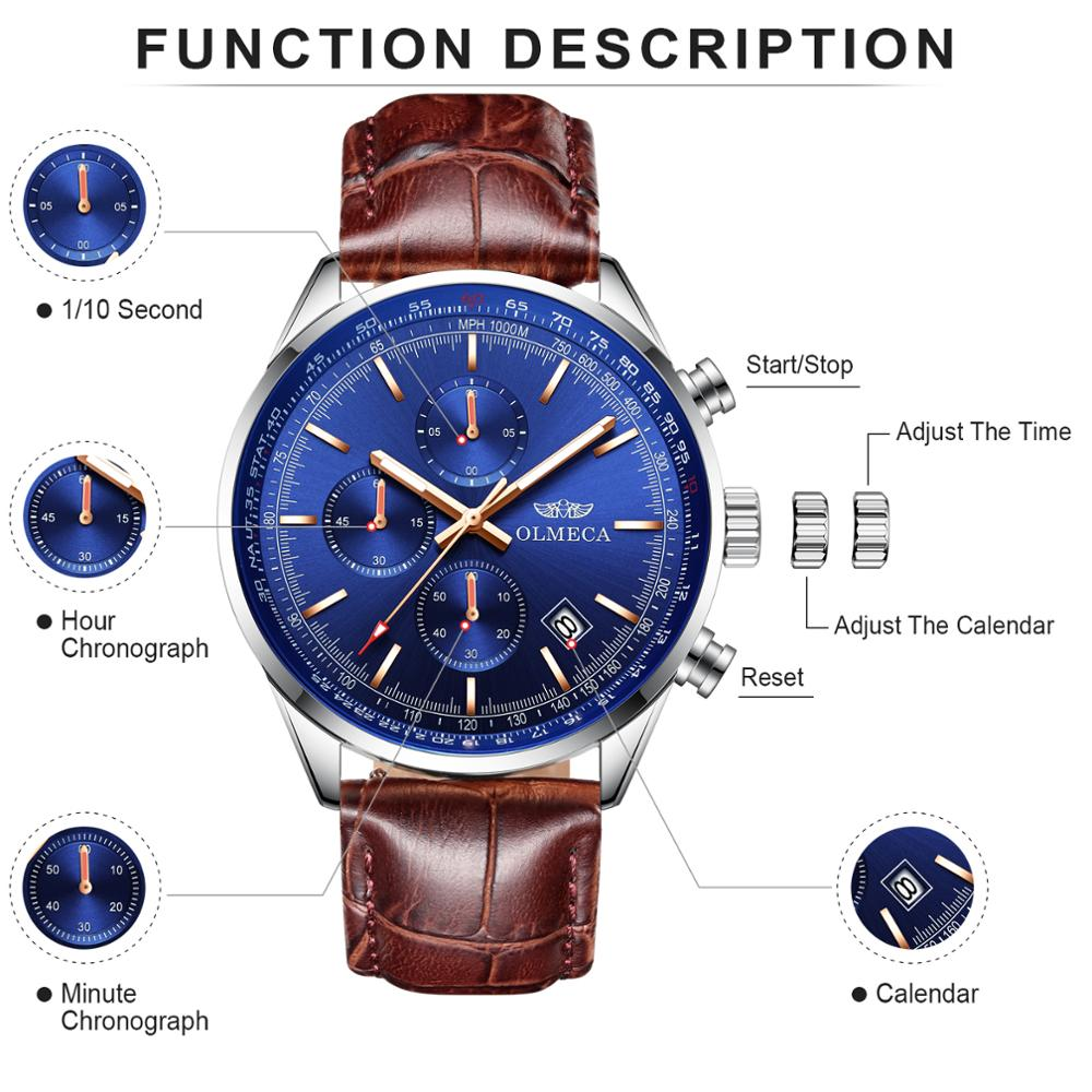 OLMECA Men's Watch Military Watches Genuine Leather Relogio Masculino Wristwatches Fashion Watch for Men Sport Male Clock
