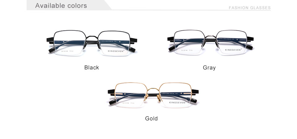 KINGSEVEN Pure Titanium+Acetate Optical Glasses Half Frame Men 2020 Square Myopia Prescription Eyeglasses Male Metal Eyewear