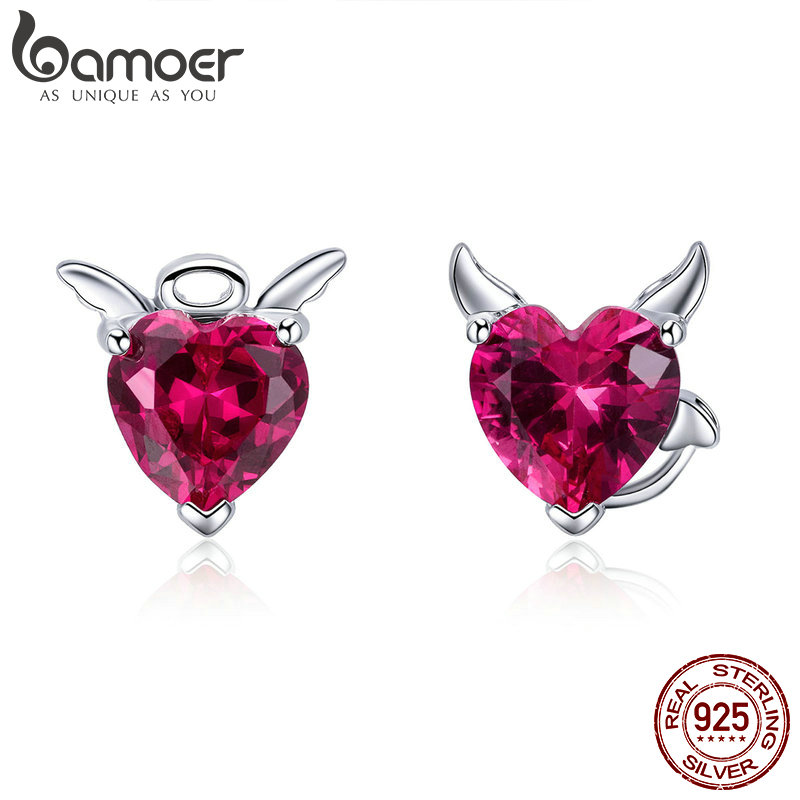 BAMOER Fashion 925 Sterling Silver Angel And Devil Pink CZ Heart Stud Earrings For Women Sterling Silver Jewelry 2018 SCE414