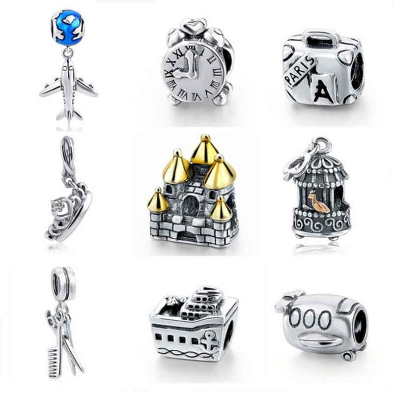 pendant charms Plane Clock Crown House Birdcage fit Pandora bracelet 925 sterling silver original beads for Women diy Jewelry