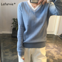 Lafarvie Wool Blended Knitted V- neck Sweater Women Tops Striped Loose Full Sleeve Warm Soft High Quality Fashion Jumper Pull