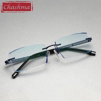 цена на Titanium Prescription Lenses Eyewear Men Luxury Tint Lenses Myopia Reading Glasses Diamond Cutting Rimless Frame
