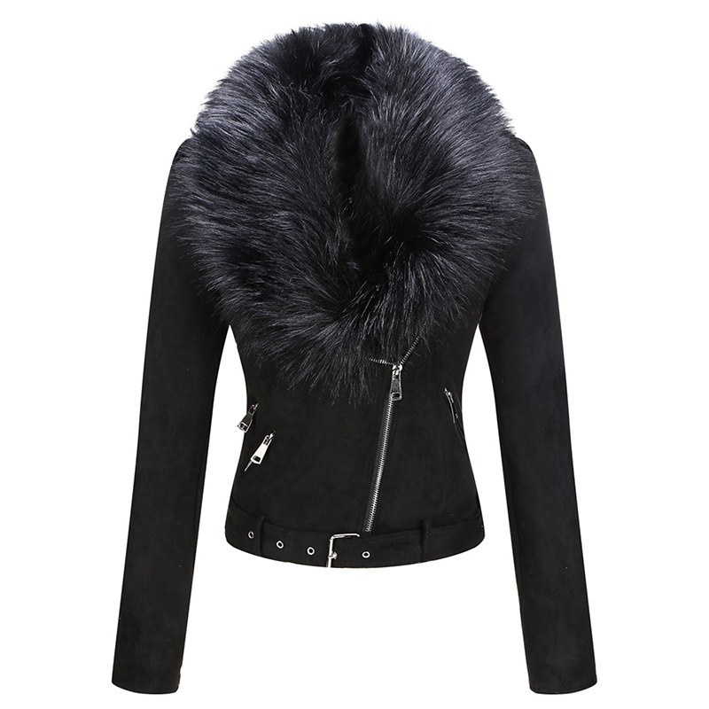 H85b717f39cb248cfbd3697b03626e7262 Giolshon 2021 New Winter Women Thick Warm Faux Suede Jacket Coat With Belt Detachable Faux Fur Collar Leather Jackets Outwear