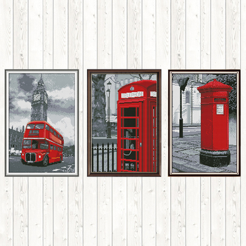 Bus Mailbox Telephone Booth Patterns Counted Cross Stitch Fabric 14ct 11ct Printed Canvas DMC DIY for Needlework Embroidery Kit swing handmade dmc cotton thread printed canvas cross stitch embroidery kit 14ct 11ct counted and stamped diy needlework crafts