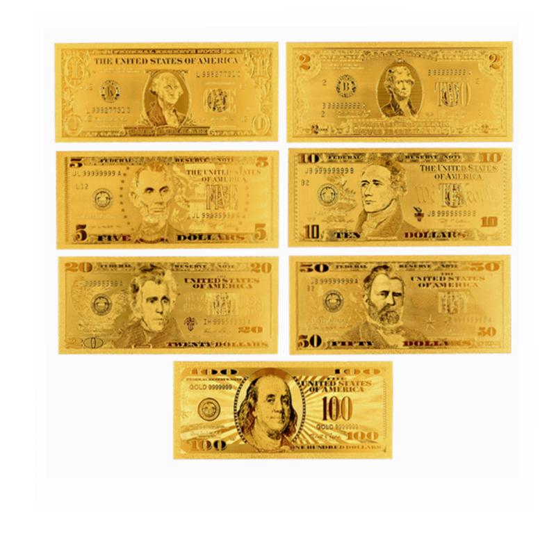 7 шт., золотые купюры, полный комплект, золотые банкноты 1/2/5/10/20/50/100 долларов США
