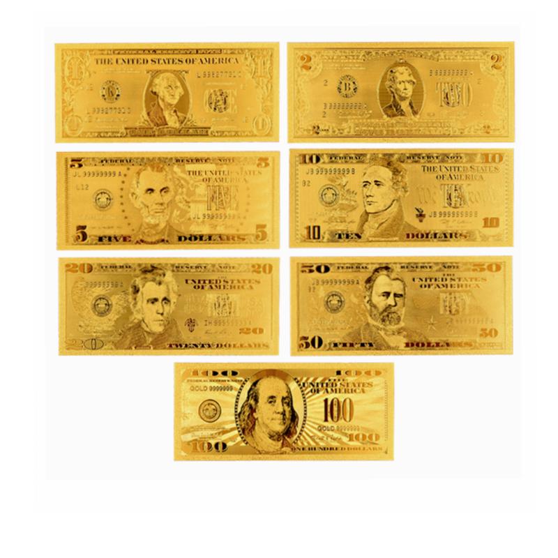 7PCS USD 1//2//5//10//20//50//100 Gold Dollar Bill Full Set Gold Banknote Colorful