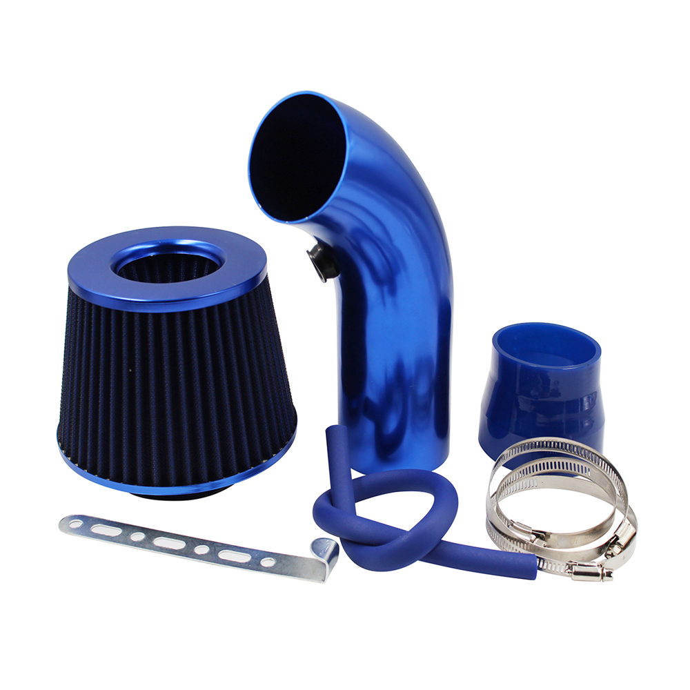US 3/'/' 76mm Car Cold Air Intake System Turbo Induction Hose Filter Pipe Kit Blue