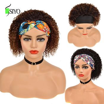 Siyo pałąk peruka Afro peruka z kręconych włosów typu Kinky 100 brazylijski Ombre peruka z naturalnych krótkich włosów dla czarnych kobiet Remy Jerry Curl pełne peruki tanie i dobre opinie CN (pochodzenie) Remy włosy Brazylijski włosy Średnia wielkość