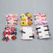 New Fashion 6Pcs/set Hairpin Baby Girl Hair Clip Bow Flower Mini Barrettes Star Kids Infant Hot Sale Free Shipping