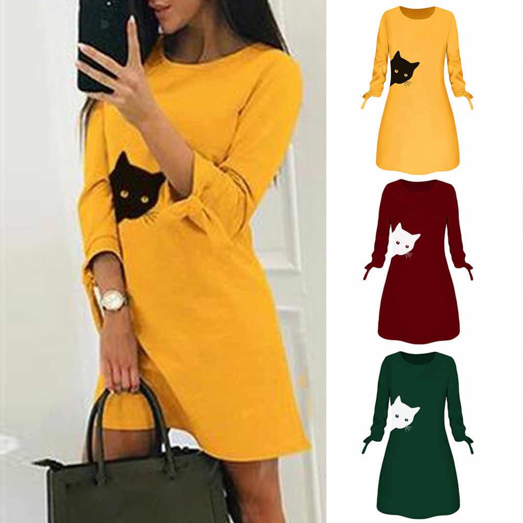 40 ^ 女性ファッションプリント猫動物弓 O ネック長袖ブラウスミニドレス roupas femininas