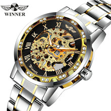 WINNER Official Royal Skeleton Mechanical Watch Men Crystal Iced Out Mens Watches Top Brand Luxury Steel Strap Business Clock