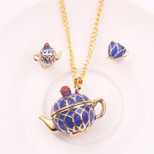 Fashion Hand Painted Teapot Pendant Long Chain Choker Enamel Necklace Jewelry Bijoux Femme Bijuteria Gifts For Women Jewelry(China)
