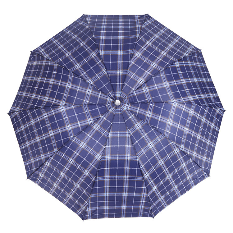 Umbrella 65 Polyester Plaid 10 Bone Reinforced Lightweight Three Fold Gift Folding Umbrella