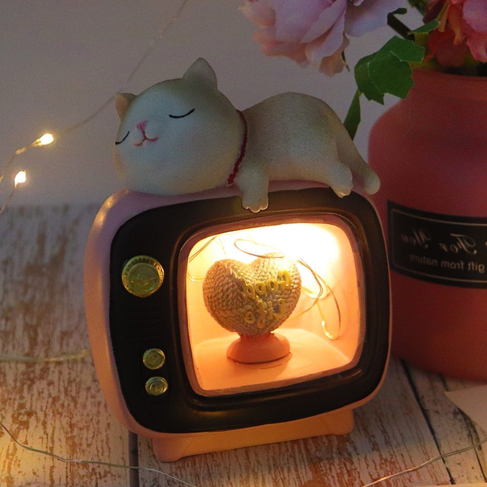 Cute Cartoon TV Cat LED Night Light Lamp Decorative Bedroom LED Bedside Table Lamp Birthday Christmas Gifts For Kids Children