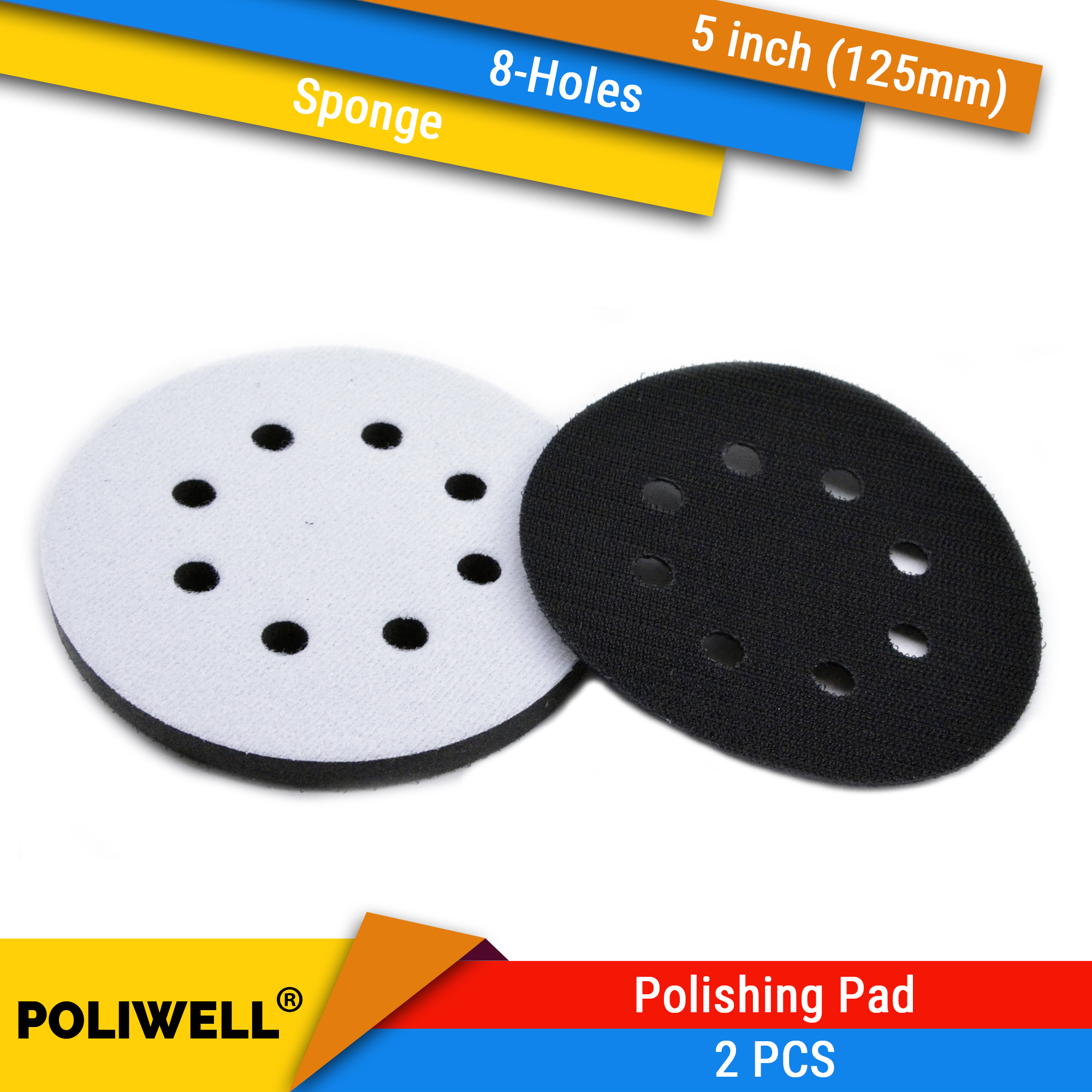 POLIWELL 2PCS 5'' 125mm 8-Holes Sponge Interface Pad Surface Protection Polishing Pad For Hook&Loop Sanding Disc And Sanding Pad