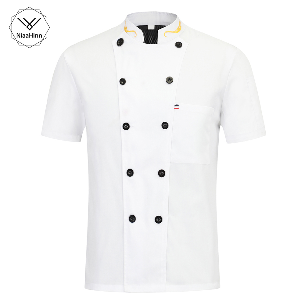 Hotel Chef Uniform Short Sleeved Chef Jacket Restaurant Waiter Kitchen Uniform Cooking Clothes Sushi Costume Beauty Apron+hats