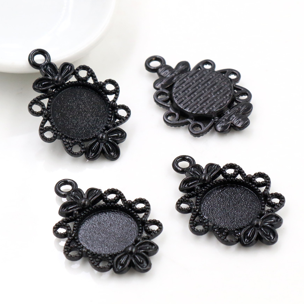 12pcs 12mm Inner Size Black Fashion Style Cabochon Base Cameo Setting Charms Pendant (A2-17)