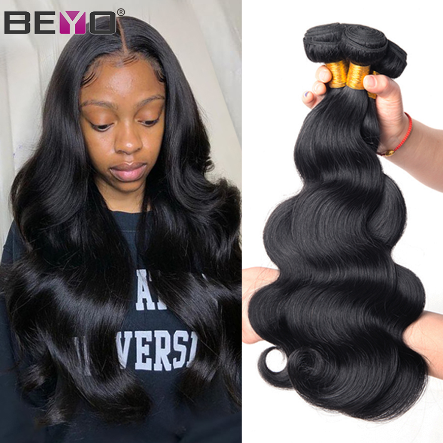 Malaysian Body Wave Bundles 8 - 28 Inch Human Hair Bundles 3 or 4 Bundle Deals Natural Color Non Remy Hair Extension Beyo Hair