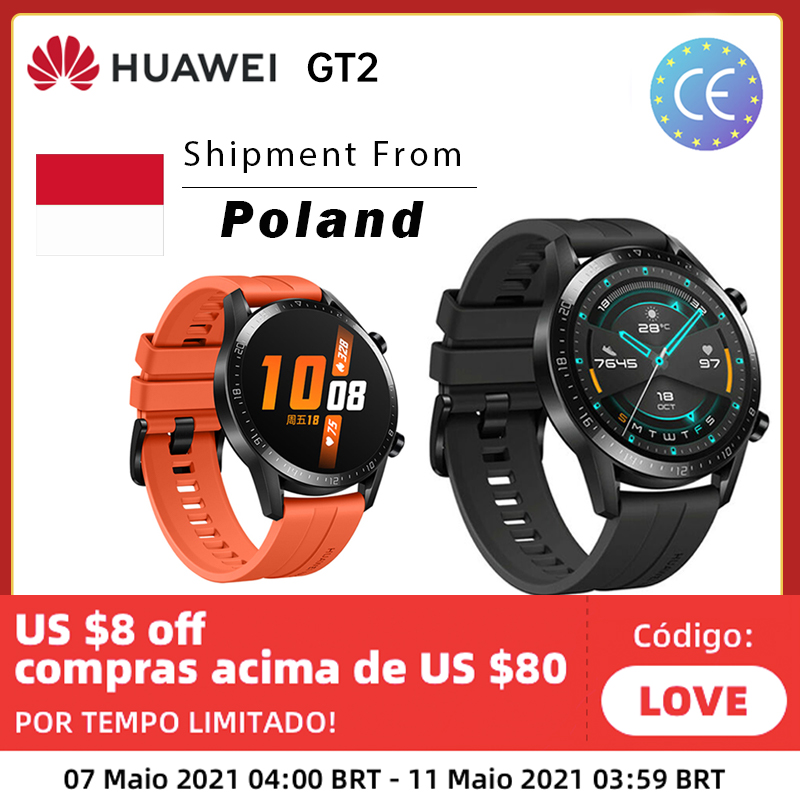 HUAWEI Watch GT2 GPS 14 Days Working Phone Smart Global Version Call Blood Oxygen 14 Days Battery Bluetooth 5.1 For Android iOS