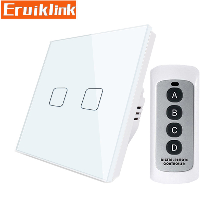 EU/UK Standard Wireless Remote Control Touch Switch,2 Gang 1 Way <font><b>RF433</b></font> <font><b>Wall</b></font> Light Switch For Smart House Free shipping image