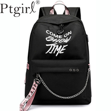 Fashion Luminous USB Charge Women Backpack Letters Printing School Bag Teenager Girls Ribbons Mochila Sac A Dos