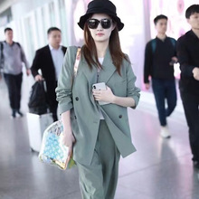 Star Same-style Loose Casual Open-style Heavy-pants Suit Commuter 2019 Notched Double Breasted Jacket Women Coat